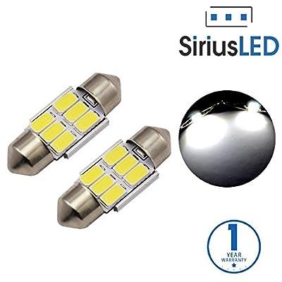 "SiriusLED Super Bright 5730 Chipset 6 SMD LED Bulbs for Car Interior Lights License Plate Dome Map Door 1.25"" 31mm 3022 DE3022 3021 DE3021 3175 DE3175 Festoon Xenon White"
