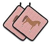 Caroline's Treasures BB7911PTHD Arabian Horse Pink Check Decorated Pot Holder, 7.5'' x 7.5'', Multicolor
