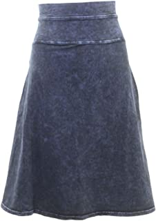 product image for Hard Tail Forever Women's High Waist Stretch Denim Jean Skirt with Yoke, Knee Length Style W-663