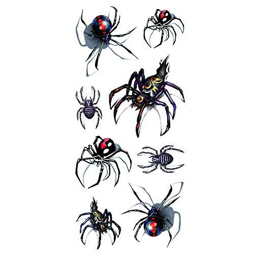Oottati Halloween Shadow - 3D Assorted Black Widow Spider Temporary Tattoo (2 Sheets) ()