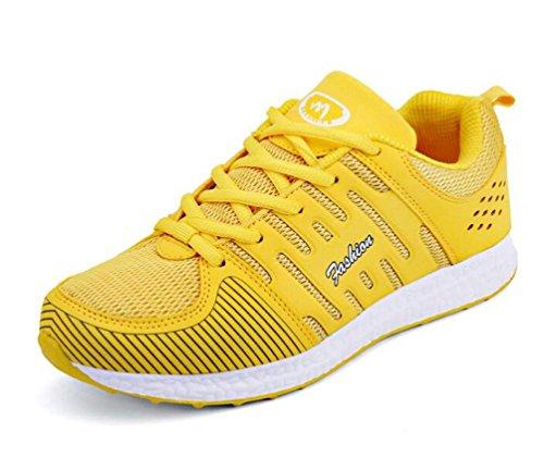 Zapatillas de entrenamiento de atletismo de malla Soles suaves Lace-up transpirable Comfortbale Hombres Zapatillas de deporte de atletismo casual clásico de la UE tamaño 35-44 Yellow