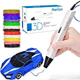 3D Pen for Kids,MerLion 3D Pen with 1.75mm PLA Filament Pack of 12 Different Colors, Each Color 10 Feet, 3D Printing Pen with OLED Screen is Perfect Gift for Kids,Artist, Adults