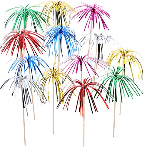TecUnite 100 Pieces Foil Frill Firework Cupcake Picks Christmas Cupcake Topper 9 Inch Coconut Tree Shape, Food Picks Supplies Party Decoration, Assorted Colors for $<!--$8.41-->