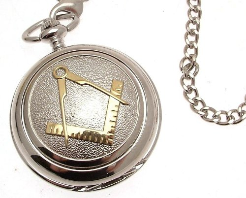 (Pocket Watch - Solid Pewter Fronted Mechanical Skeleton Pocket Watch - Two Tone Masonic Design)