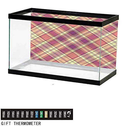 - bybyhome Fish Tank Backdrop Checkered,Vintage Scottish Tile,Aquarium Background,24