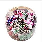 NiceButy Pack of 24 Cute Lovely Flower Face Spring-Loaded File Organizer Paper Holder Metal Binder Clips, Assorted Color
