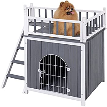 Tangkula Pet House Wooden Outdoor Indoor Dog Cat Puppy House Room with a View (L)