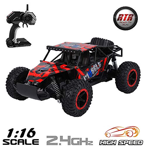 RC Car Remote Control Car 1/16 Scale 2.4Ghz Fast Racing Drifting Buggy Rock Climbing Car Off Road Radio Controlled Race Monster Truck Buggy Crawler All Terrain RTR Electric Vehicle for Kids & Adults ()