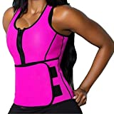 3-5 Days Delivery Women's Neoprene Sauna Suit Tank Top Vest with Zipper Slimming Body Shaper Waist Trimmer with Adjustable Waist Trainer Slim Belt Corset Workout Shapewear
