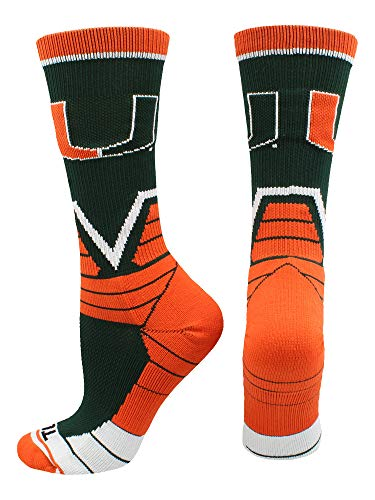 - TCK Sports Miami Hurricanes Victory Crew Socks (Green/Orange/White, Large)
