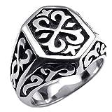 KONOV Stainless Steel Thors Hammer Men's Ring,Black - Size 13