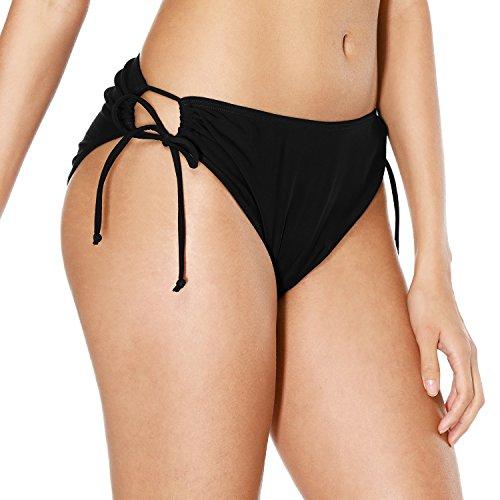 (Vegatos Women Black Bikini Bottoms Low Waist Swimsuit Bottom Swim Brief Black S)