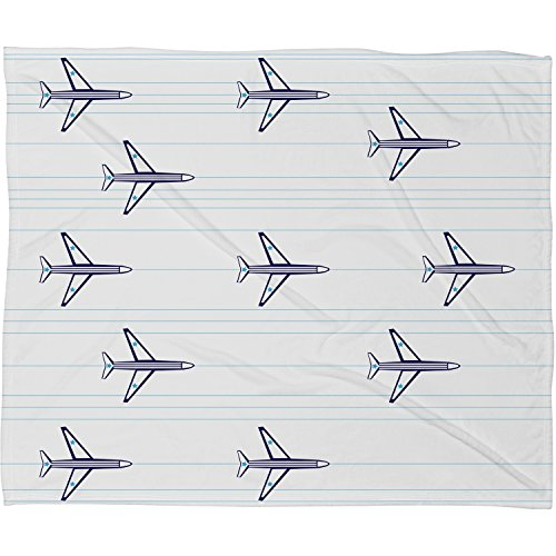 Deny Designs  Vy La, Airplanes and Stripes , Fleece Throw Blanket, Small, 40