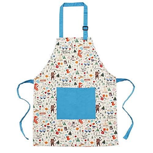Kids Apron Kids Cook Aprons with Front Pocket and Adjustable Neck Strap Cotton Apron Suitable for Children Cooking,Painting,Baking