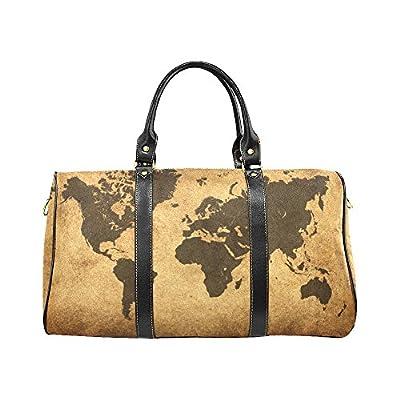 Vintage World Map Travel Duffel Bag Waterproof Weekend Bag With
