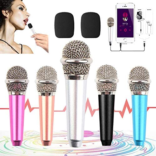 mini microphone for iphone,Tiny Microphone,Portable Microphone/mini mic,for Mobile Phone, Computer, Tablet, Recording Chat and Singing,with Mic Stand and 2PCS sponge foam duvet (silver white)
