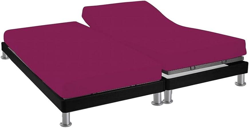 Soleil D Ocre 617822 Drap Housse Double Pour Sommier Articule Coton 57 Fils Uni Violet 2x80x200 Amazon Fr Cuisine Maison