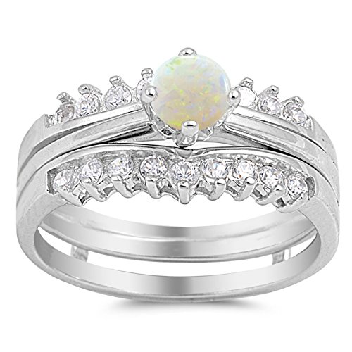 Natural White Opal Ring (925 Sterling Silver Cabochon Natural Genuine White Opal Round Solitaire Set Ring Size 4)