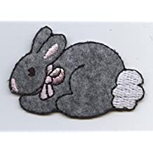 Gray Bunny Rabbit Iron on Embroidered Patch