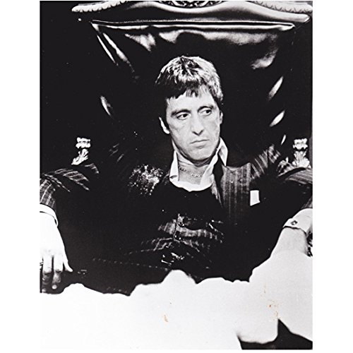Scarface Al Pacino as Tony Montana Seated at Desk in Black and White 8 x 10 Inch Photo