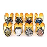 Shiny Pave Rhinestone Natual Stone Gold Plated Ring Band for Women Size 6 7 8