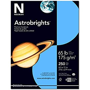 "Astrobrights Colored Cardstock, 8.5"" x 11"", 65 lb / 176 gsm, Lunar Blue, 250 Sheets"