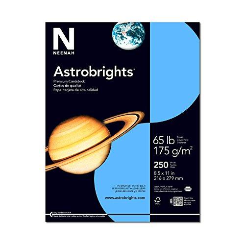 Astrobrights Colored Cardstock, 8.5 x 11, 65 lb/176 gsm, Lunar Blue, 250 Sheets (21728)