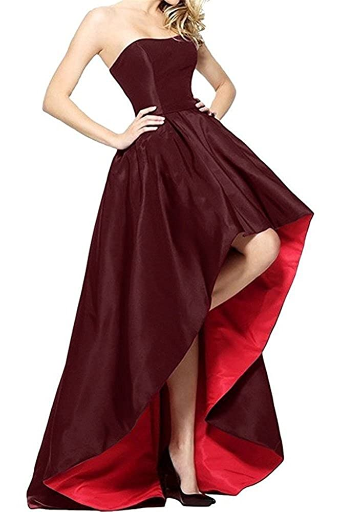 Burgundy and Red Tutu Vivi Womens Strapless Prom Ball Gowns Satin Formal Evening Party Dresses High