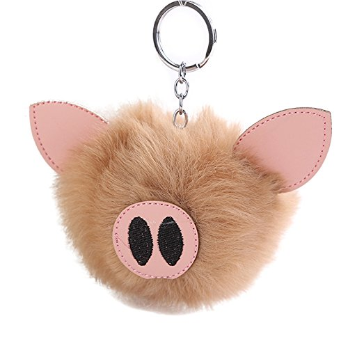 (Bluelans Fluffy Handbag Pendant Women Embroidered Key Ring Lovely Piglets Keychain Gift Valentine's Day/Mother's Day/Father's Day/Wedding/Anniversary/Party/Graduation/Christmas/Birthday Gifts)