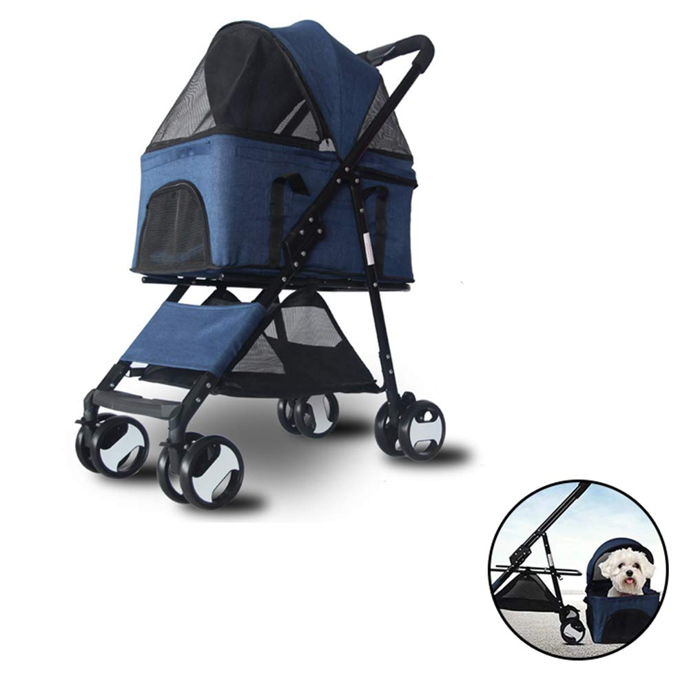A PETSUPPLY Pet Travel Stroller Cat Dog Pushchair Trolley Puppy Jogger Carrier Four Wheels,Foldable, Car Bag Detachable,Front Wheel greenical Shaft Design, 360 Degree redation,A