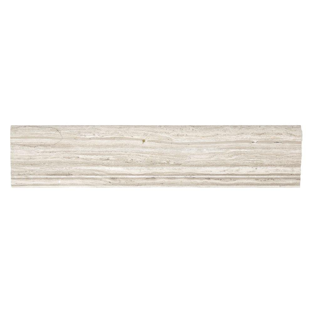2 in. x 12 in. Stone Grey Limestone Crown Wall Accent Tile