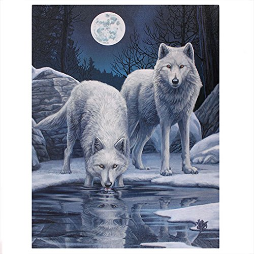 Ice Plaque Print - Lisa Parker - Warriors Of Winter - White Wolves & Ice Scene - 25cm x 19cm Canvas Plaque by Lisa Parker