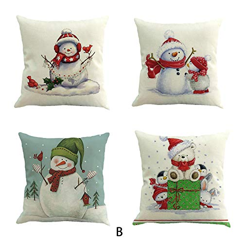 4PC Christmas Cotton Linen Sofa Car Home Waist Cushion Cover Throw Pillow Case Duseedik ()