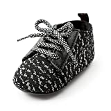 Antheron Baby Boys Girls Anti-Slip Sole Sneakers Breathable Toddler First Walkers Newborn Crib Shoes (L: 5.12 inch(12-18 Months), Black)