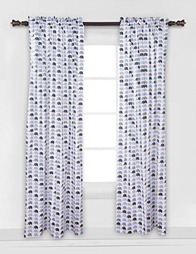 (Elephants Blue/Grey Mini Elephants Curtain Panel)