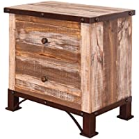 Rustic Beau 2 Drawer Nightstand Solid Wood Western Shabby Chic Lodge Cabin