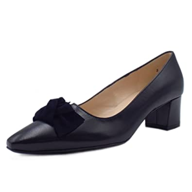 5229884bd Peter Kaiser Binella Mid Heel Navy Leather Court Shoes with Suede Bow:  Amazon.co.uk: Shoes & Bags