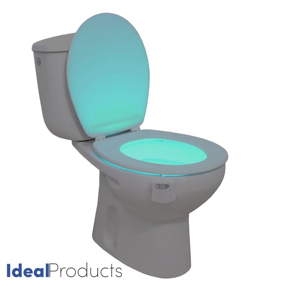 Ideal Products Luce per il WC Adattabile a qualsiasi modello di water Attivato con un Sensore del Movimento in 8 diversi COLORI che si possono schegliere con un semplice bottone – Abbellisce il water adattandolo in base a la Decorazione – Evitando luci ab