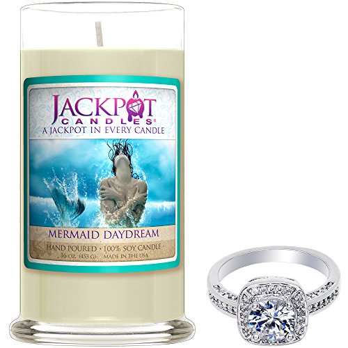 Mermaid Day Dream Candle with Ring Inside (Surprise Jewelry Valued at 15 to 5,000) Surprise Ring Size by Jackpot Candles