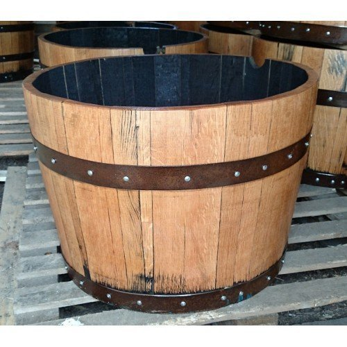 Solid Oak 1/2 200L Whiskey Barrel Planter With Rustic (Brown) Bands Cheeky Chicks