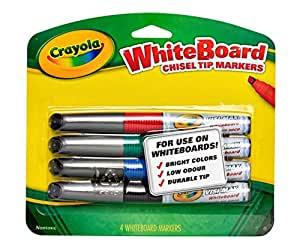 Crayola, 4 Whiteboard Markers, Chisel Tip, Boardroom, Classroom, Easel, Easy Erase, Dry Erase