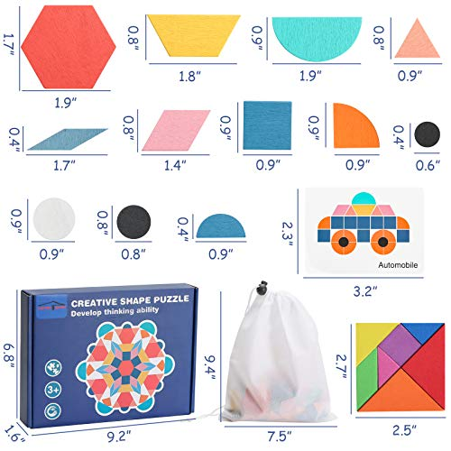 LOVESTOWN Tangram Puzzles for Kids, 180 Pcs Wooden Pattern Blocks with Cards and Magnetic Foam Pattern Block Geometric Shapes Blocks Educational Tangram Toys
