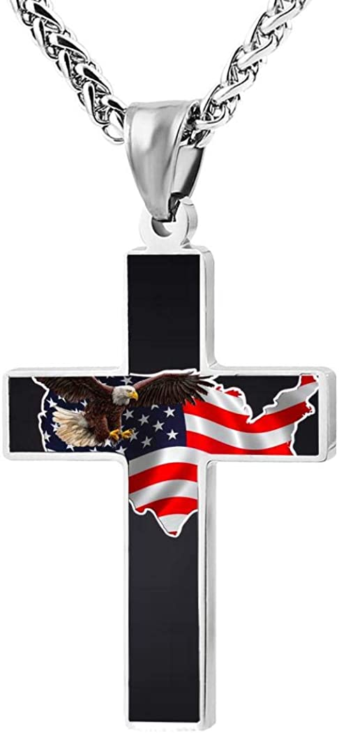 Addsomeing america flag eagle Zinc Alloy Stainless Steel Silver Steel Cross Necklace Jewelry for Women Men
