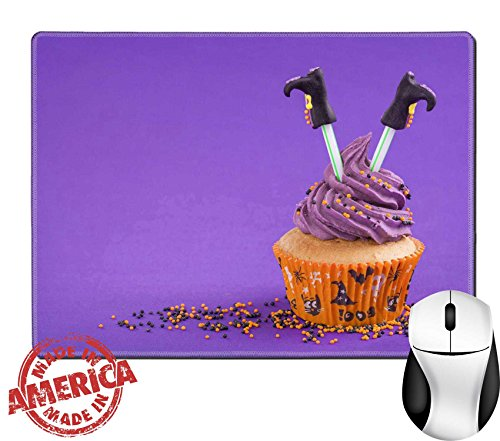 "Cupcakes Halloween Decorated Ideas (Luxlady Natural Rubber Mouse Pad/Mat with Stitched Edges 9.8"" x 7.9"" IMAGE ID: 22167569 Halloween cupcake with witch)"