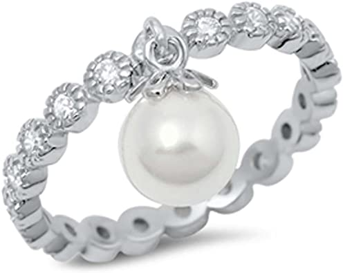 Oxford Diamond Co Round Eternity Band /& Dangle Simulated Pearl .925 Sterling Silver Ring Sizes 4-10