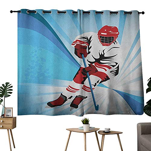 NUOMANAN Pattern Curtains Hockey,Hockey Player Makes a Strong Shot on Goal Rival Illustration Abstract Backdrop, Blue Red White,Blackout Draperies for Bedroom 42
