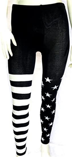 b38527b900cc8 Image Unavailable. Image not available for. Color: Stars and Stripes Legging  Black and White
