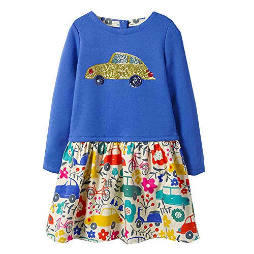 Price comparison product image VIKITA Toddler Girl Long Sleeve Cute car Blue Dress Baby Girls Winter Birthday Dresses Great Gift (2T,  MS0362)