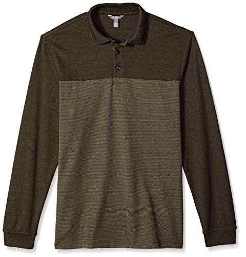 Van Heusen Men's Big and Tall Long Sleeve Jaspe Polo, olive frog, Large Tall -