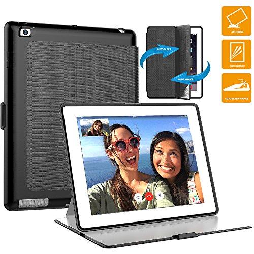iPad 2/3/4 Case,SEYMAC PC+TPU+Leather Hybird Shockproof Case with Auto Wake/Sleep Cover for iPad 2/3/4 (Black/black)